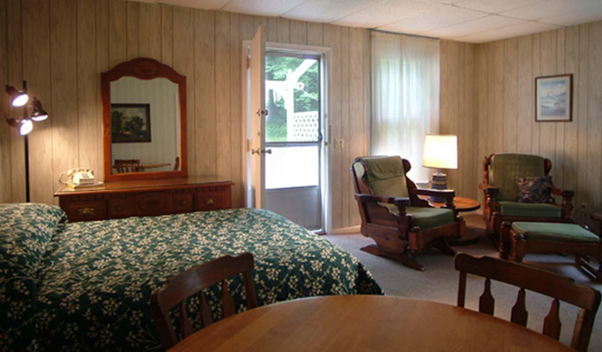 Flower pattern bedspread in suite