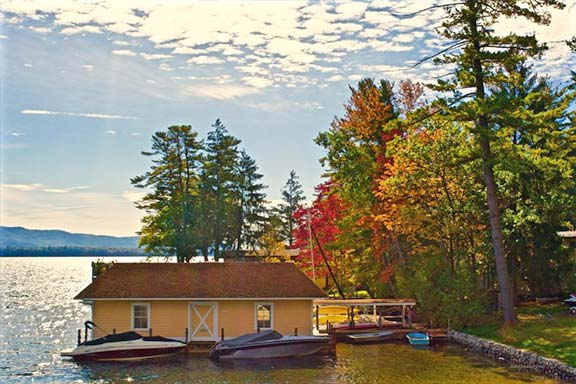 Boathouse with Fall Foliage behind