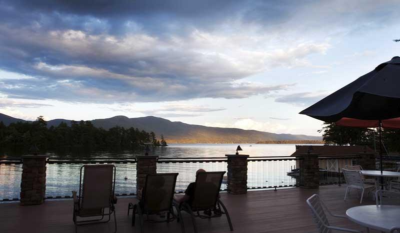 Deck overlooking lake George during dusk