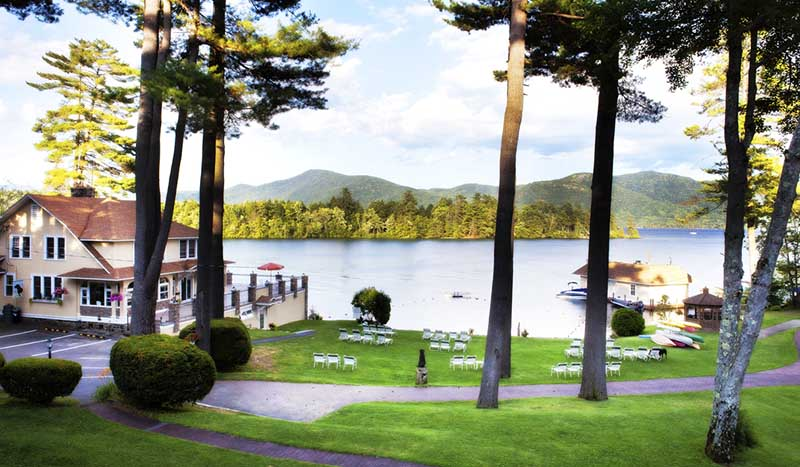 Overlooking lawn and lake george